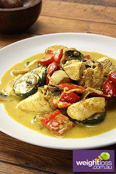 Chicken with Yoghurt Curry Sauce Recipe. #HealthyRecipes #DietRecipes  #WeightLossRecipes weightloss.com.au