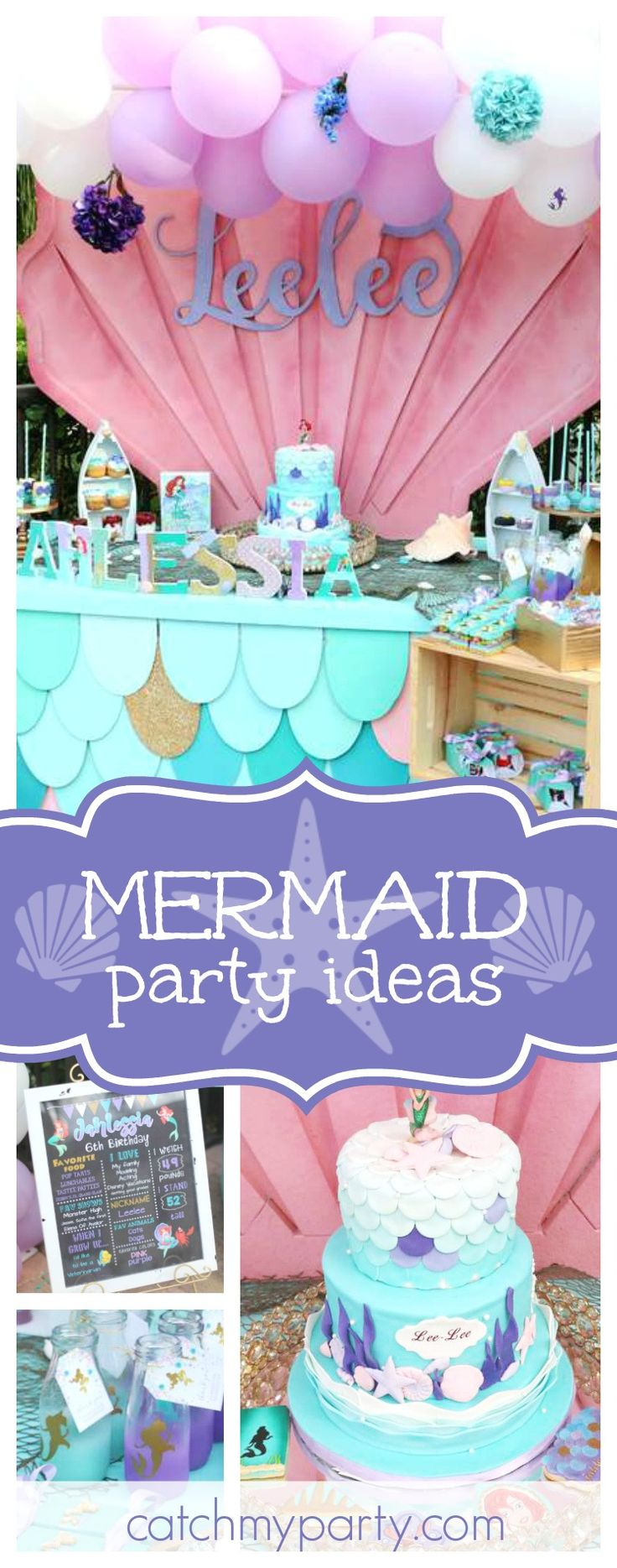 Dive into this wonderful Mermaid Splash Birthday Bash! The dessert table is gorgeous!! See more party ideas and share yours at CatchMyParty.com