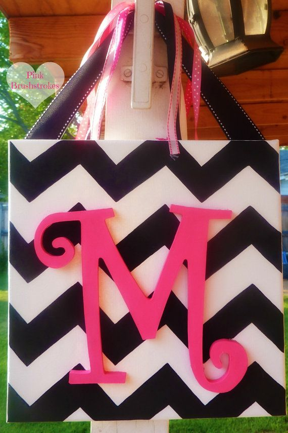 Hand Painted Personalized Chevron Wooden Monogrammed Canvas Wall Art or Door Hanger by PinkBrushstrokes on Etsy $18