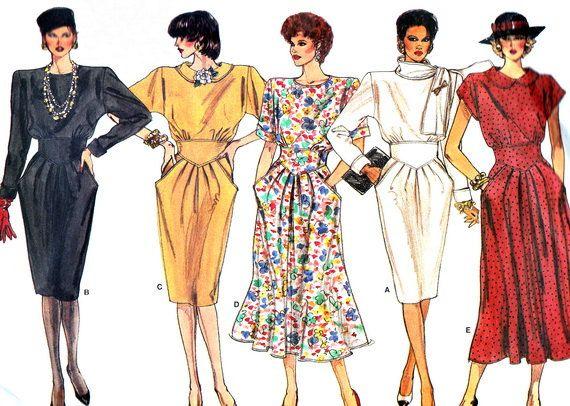 Yoked Midriff Dress Pegged Skirt Flared Skirt Loose Fitting Dress 1980s Vintage Sewing Pattern Vogue 1742 B30 1/2 - 31 1/2 - 32 1/2 Uncut
