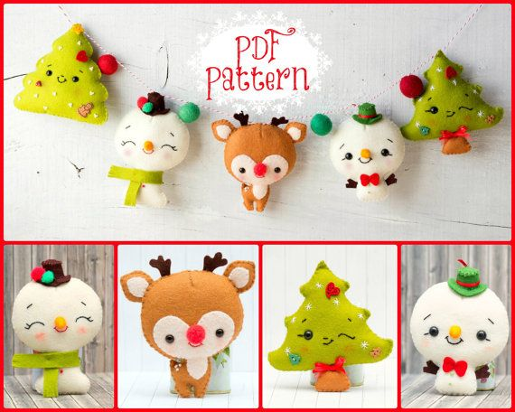 PDF Pattern. Chistmas garland with Rudoph, Snowmen and Christmas tree., $7.00