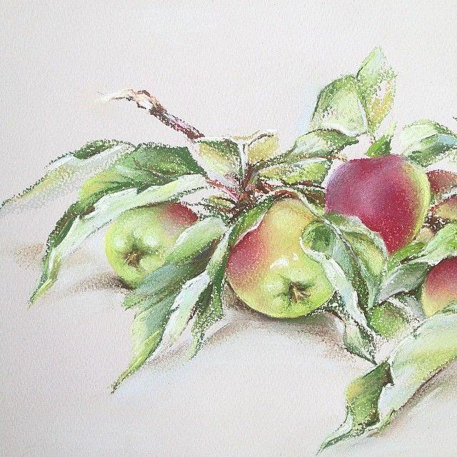Небольшой фрагмент #яблоки #пастель #apple
