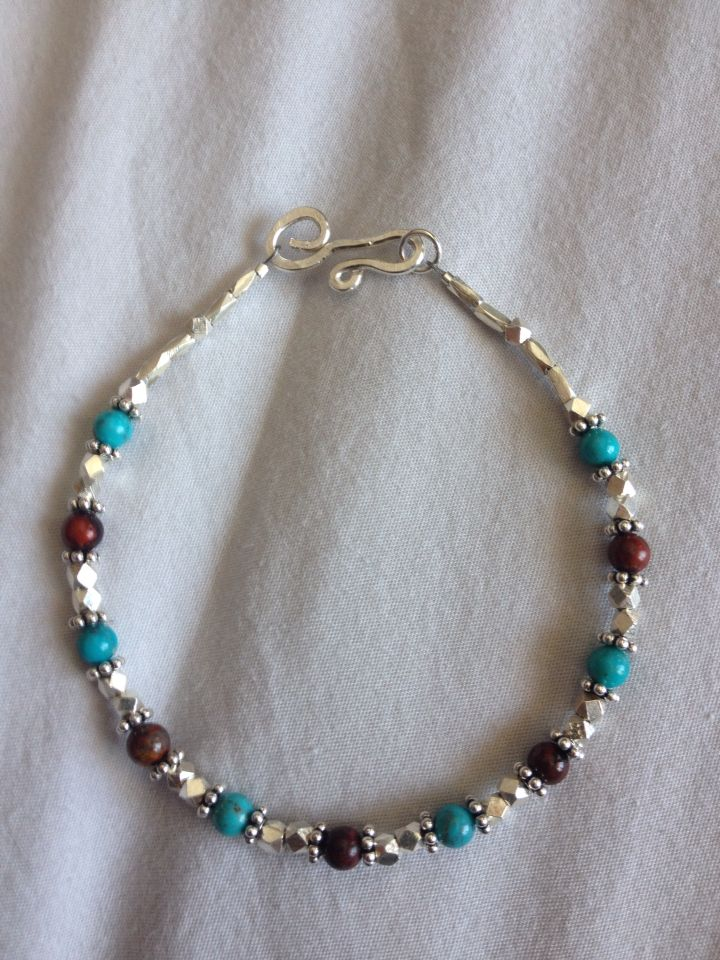 Jasper, turquoise and sterling silver bracelet with my first attempt at a hand made clasp