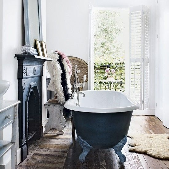 Victorian bathroom # Pretty bathroom # Bathroom with fireplace