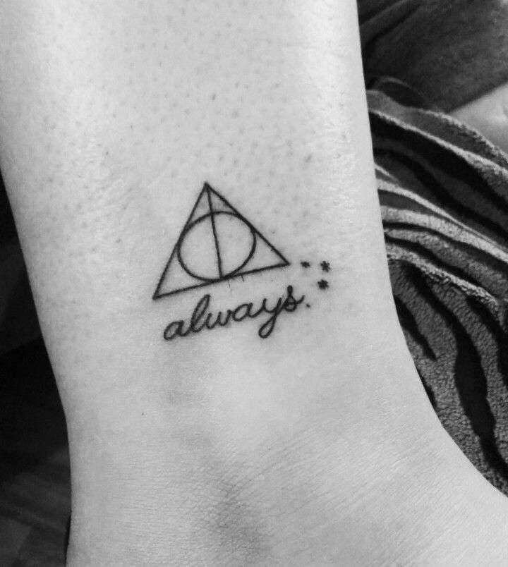 Harry Potter Deathly Hallows Tattoo With Always Harrypottertattoos Harry Potter Tattoos Tiny Harry Potter Tattoos Always Tattoo