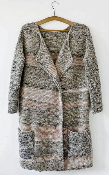 The Map Collection, garter stitch knit coat, subtle pink, charcoal & cream