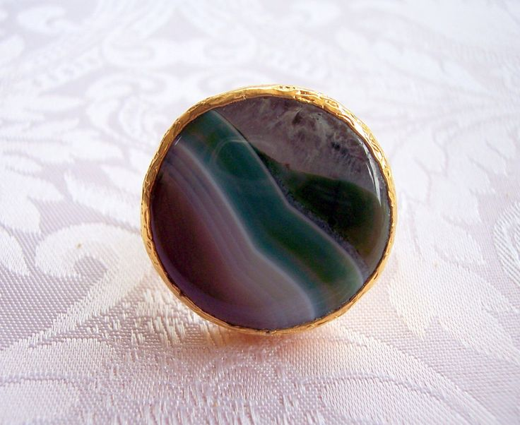 Handmade ring with a multi colour agate stone gold plated semiprecious gemstone, jewelry and balance by GardenOfLinda on Etsy