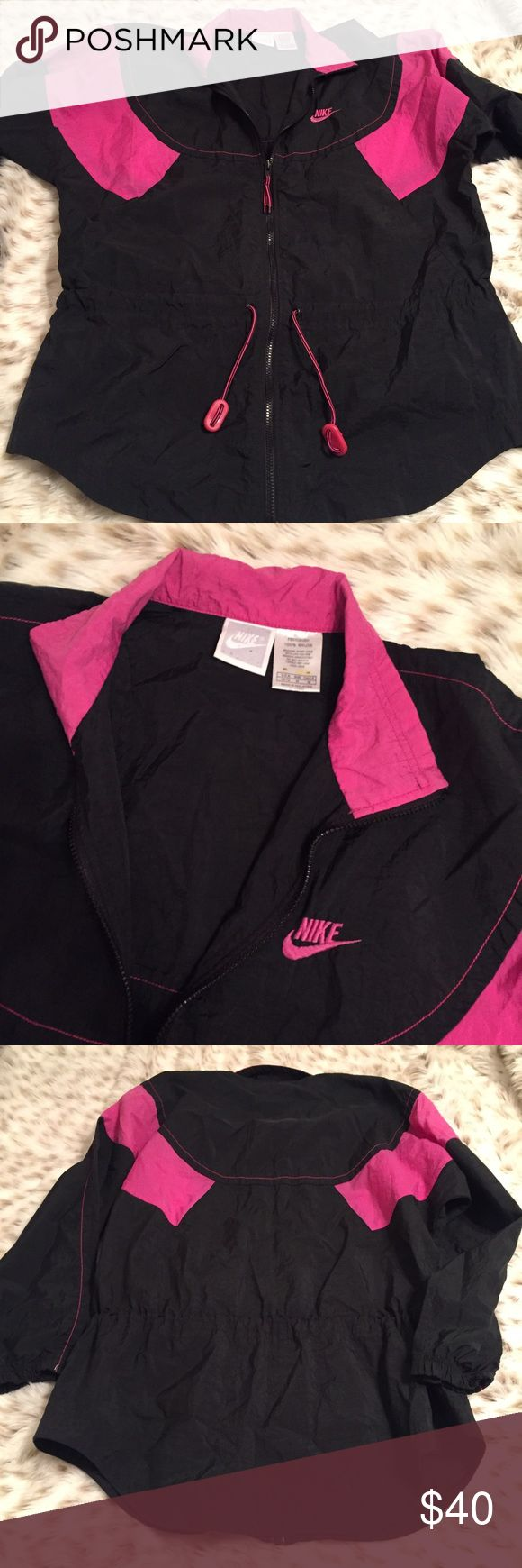 Vintage Nike Windbreaker Black Vintage Nike jacket! Windbreaker! So cuuuute it's black and pink! Has a drawstring waistband! No flaws! Size medium! Nike Jackets & Coats