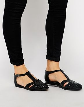ASOS JARGON Leather T-Bar Flat Shoes