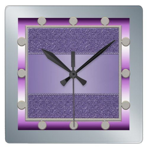 Purple and Silver Wall Clock