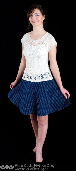 CREATIVE FIBRE AWARD (For the most outstanding catwalk creation.  Must be entrant's own design.) --- Lace on Lace (Jo Reeve, Titahi Bay) --- Handwoven huck lace skirt. Top handknitted from a handspun yarn of hand blended bamboo (75%) and Merino (25%).