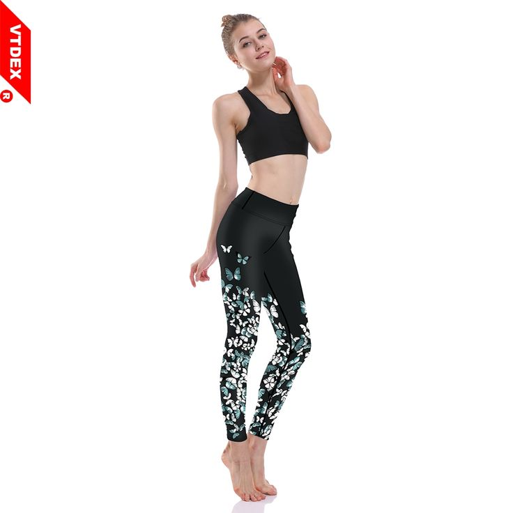 VTDEX Women Yoga Pants Mallas Running Mujer Butterfly Fitness Leggings Girl's Digital Printed Sports Workout GYM Tights #Affiliate