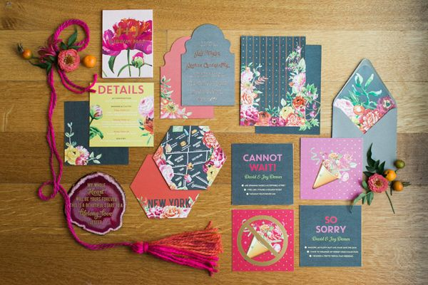 modern wedding invitations - photo by Haley Sheffield Photography event and floral design by Juli Vaughn Designs http://ruffledblog.com/bright-modern-NYC-wedding
