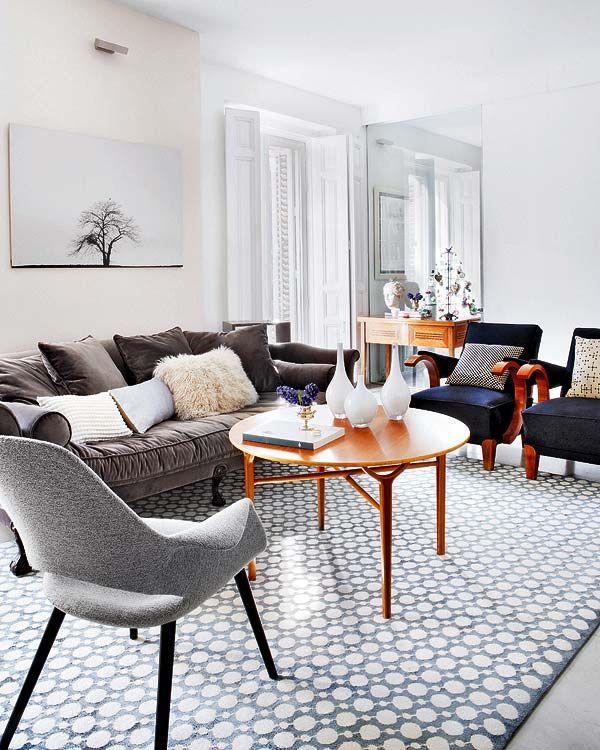 RugDecor, Ideas, Living Rooms, Home Interiors, Chairs, Livingroom, Interiors Design, Grey, Design Home