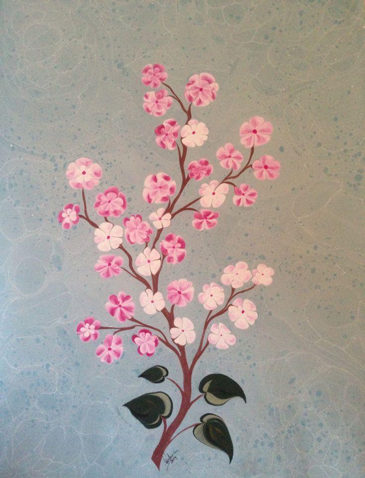 bahar dalı ebru sanatçı Firdevs Çalkanoğlu eseridir.   #ebru #ebrusanatı #flower #marbling #art