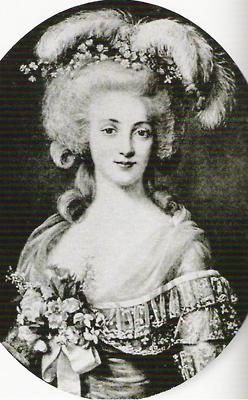 Duchesse de Polignac, She had dark brunette hair, very pale white skin and, perhaps most unusually, lilac or violet-coloured eyes.Charismatic and beautiful, Gabrielle became the undisputed leader of the queen's exclusive circle, (Marie Antoinette).She lived for fourteen-years at Versailles