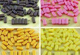 40pcs Matte Shine Bricks Czech Glass Beads 2 Two Hole 4mm x 8mm