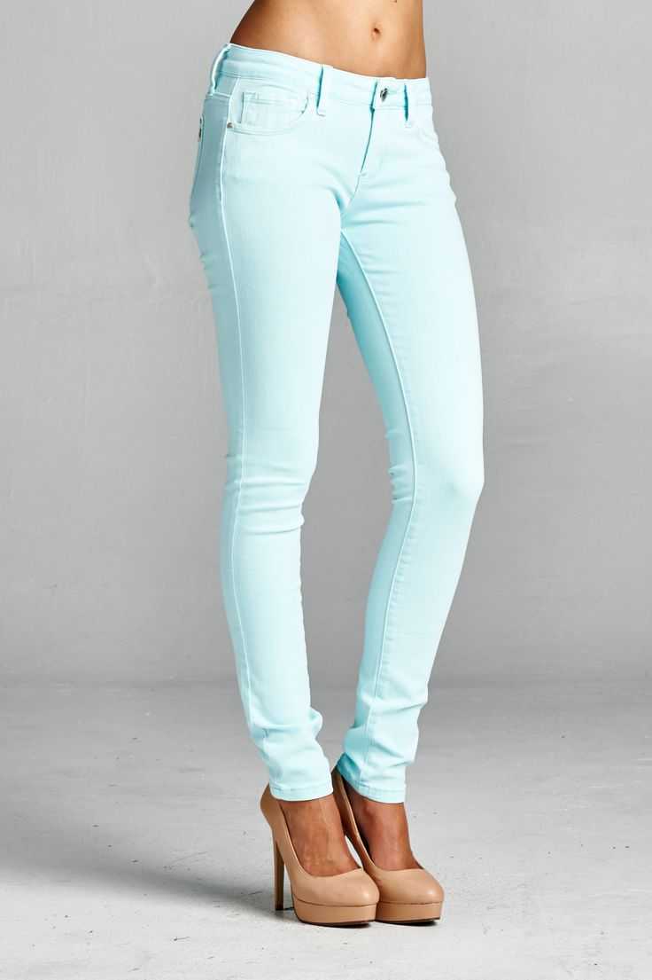 "Basic Skinny 98% Cotton 2% Spandex Model is wearing a size 3 Front rise: 7 1/2"" Inseam: 30 1/2"""