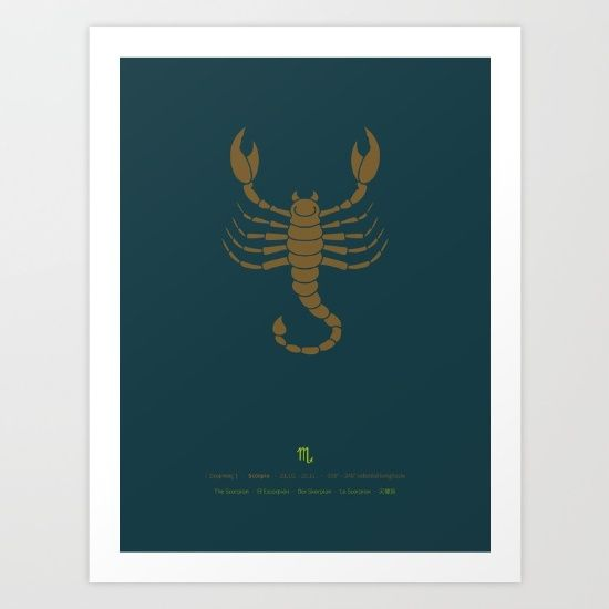 Stylized scorpio star sign (archer) in brown on petrol blue background. <br/> <br/> The composition of this Sign of zodiac includes date (duration), celestial longitude, astrological symbol and Greek, English, Spanish, German, French and Chinese translations.