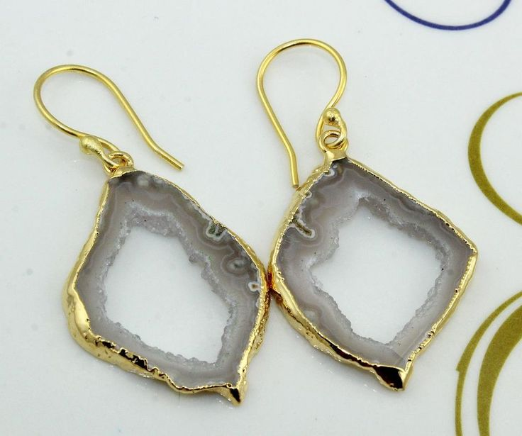 H2984 Halloween Sale ! Natural Gray Window Druzy 24k Gold Plated Earring Jewelry #Handmade #DropDangle