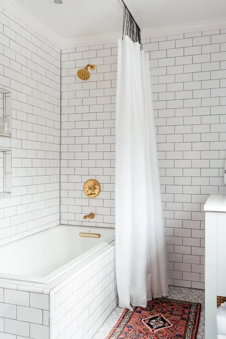 The hunt for the perfect shower curtain - Erin Kestenbaum White Subway Tile Shower, Glass Tub, Shower Curtain, Guest Bathroom, Complete Bathrooms, Complete Bathroom Remodel, Extra Long Shower Curtain, Interior Photography, Cool Shower Curtains