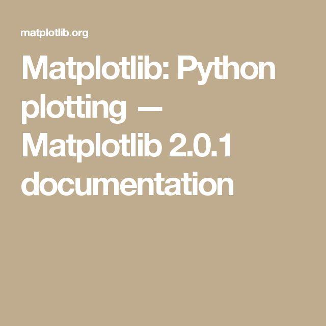 Matplotlib: Python plotting — Matplotlib 2.0.1 documentation