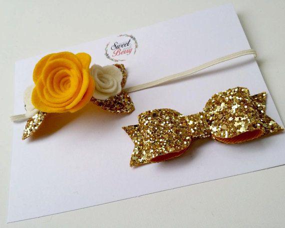 Rose delight setglitter bow baby headbandhair by sweetandberryshop