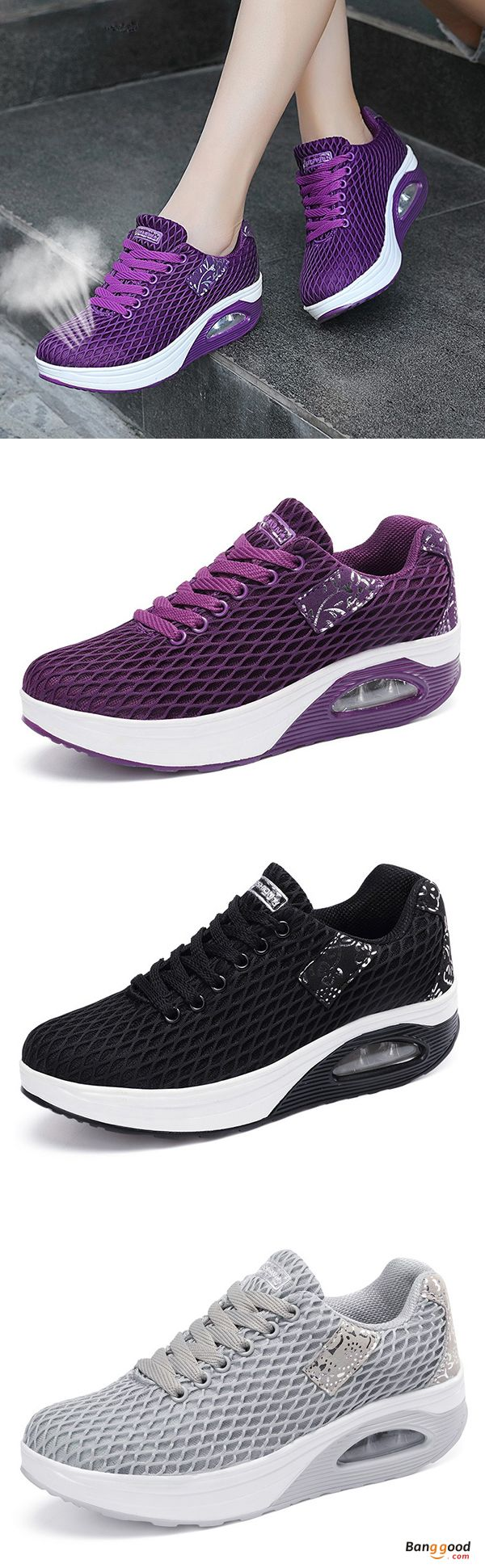 US$29.99 + Free shipping. Size: 5-9. Color: Black, Purple, Gray. Fall in love with casual and sport style! Women Breathable Platform Rocker Sole Mesh Lace Up Trainers.