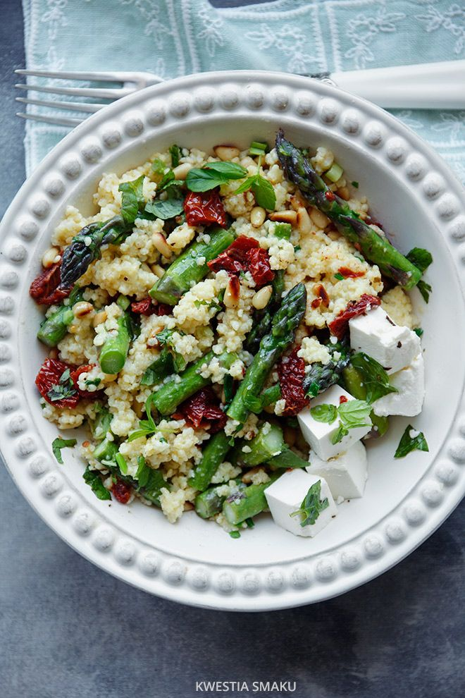 Millet with asparagus, sun-dried tomatoes and feta.