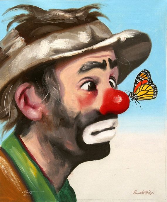"EMMETT KELLY, JR. is a 24"" x 20"" original oils on canvas painting by Florida artist, Rusty Rust. Emmett Kelly, Jr. personally autographed this canvas"