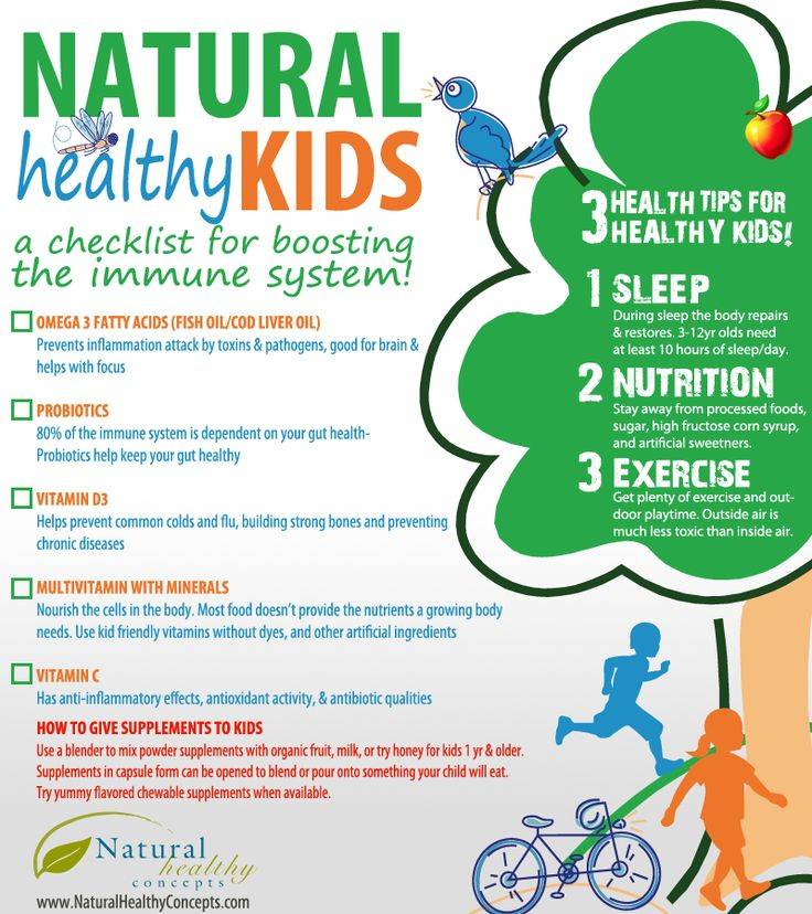 Infographics - NATURAL Healthy KIDS. A checklist for boosting  the immune system!