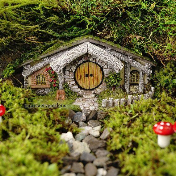 Miniatuur poppenhuis FAIRY tuin ~ Hobbit huis nieuw voorjaar Fairy Home