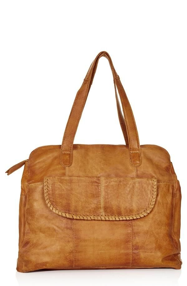 The detail on this bag is gorgeous! Topshop Whipstitch Leather Tote Bag