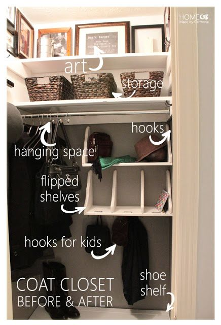 Coat Closet Organization Tips! I'd use the top for out of season stuff in decorative boxes (Toques, Mittens, Flip Flops, Ball Gloves)
