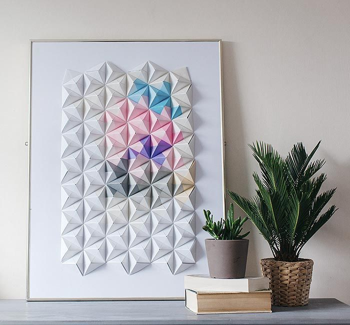 DIY Origami Wall Display. http://www.designsponge.com/2015/01/diy-origami-wall-display.html