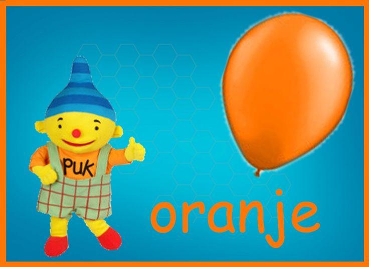 leer samen met puk de kleur oranje