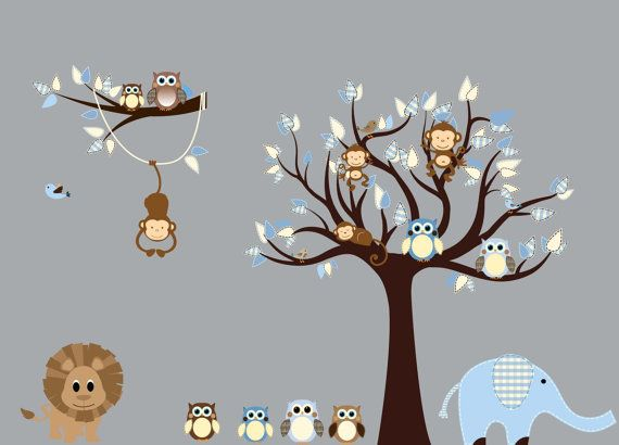 Custom+Tree+Decal+Owls+Monkeys+Nursery+Tree+by+NurseryDecals,+$140.00