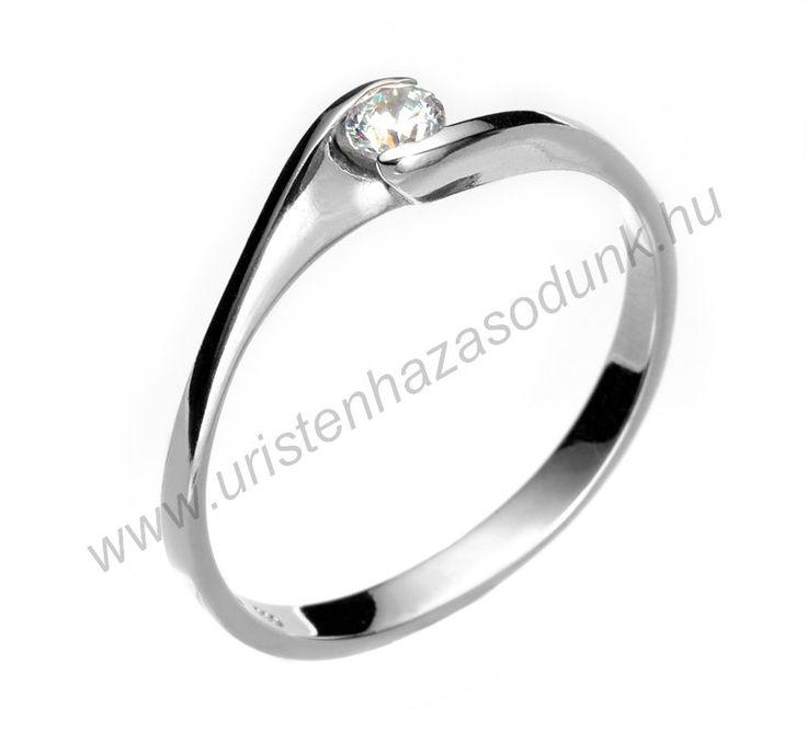 EFC - 27.450 Ft 14 karátos fehér arany cirkónia köves Eljegyzési Gyűrűk 48-60-as méretig azonnal raktárról www.uristenhazasodunk.hu