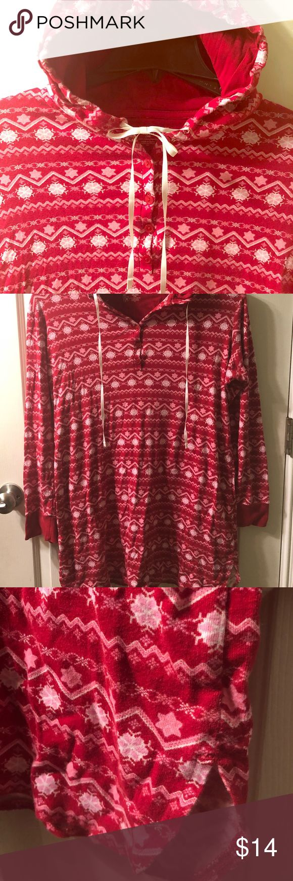 Red hooded snowflake Christmas nightgown pajamas Sz. XXL (19) I would say could fit sz. XL Super cute and comfy it is just too big for me, worn maybe twice and washed. In great condition to get cozy by the fire 🔥 during the winter months. Intimates & Sleepwear Pajamas