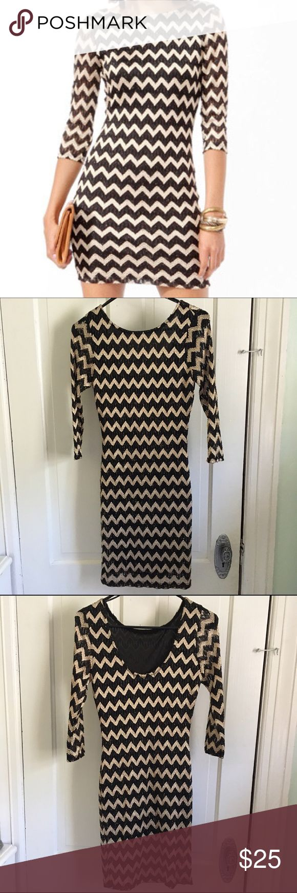 💥NEW💥 Zig-Zag Bodycon Metallic Sleeved Dress NWT. This dress hugs every curve and lets you look hot while still keeping it classy. The back of the dress dips while the front keeps your chest covered. Less is more with this super short hem line. NO TRADES. Forever 21 Dresses Mini