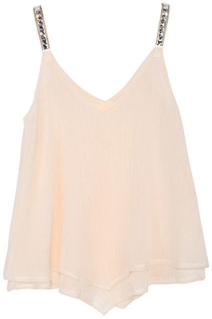 Diamante Embellished Asymmetrical Layered Apricot Vest