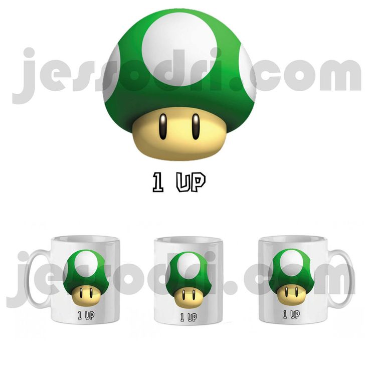 Taza mug seta verde mario super champiñon one 1 up personalizable 325ml mushroom