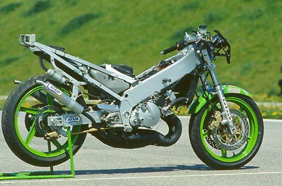 Kawasaki 250 KR-1S von 1990 Fahrbericht und Test mit Toni Mang ein Bericht von Winni Scheibe