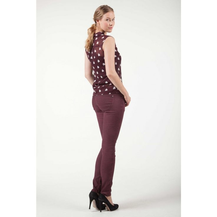 Articles broek pants oil wash bordeaux | Fashion Exclusive Online Mode Webshop