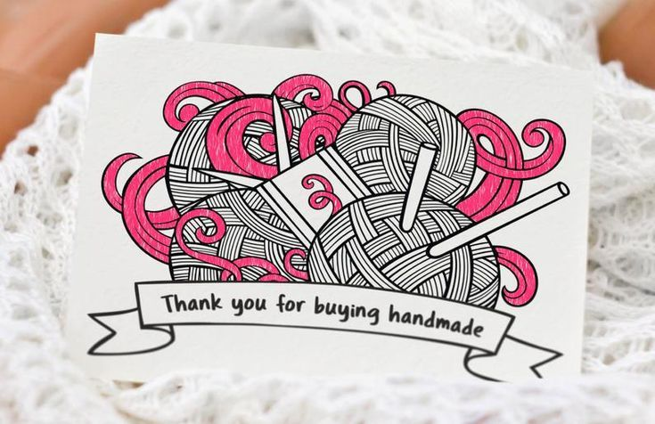 Thank You For Buying Handmade Thank You Card With Yarn Etsy Handmade Thank You Cards Note Cards Business Thank You Cards