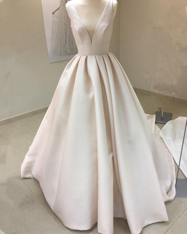 Vintage Style V-neck Satin Wedding Dresses Ball Gown - #Ball Gown #Wedding dress