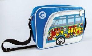 """Torba na ramię VW Bus """"Flowers"""" blue"""