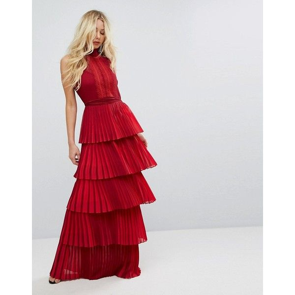 Bodyfrock Tiered Pleated Maxi Dress With Lace Bodice and Tie Belt (€360) ❤ liked on Polyvore featuring dresses, gowns, red, tie-dye maxi dresses, bridesmaid dresses, tall maxi dresses, lace maxi dresses and red maxi dress