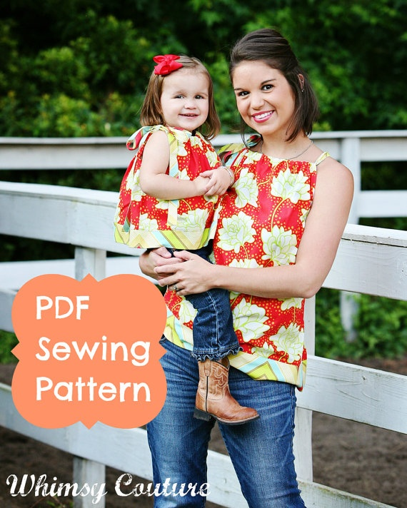 WHIMSY COUTURE Double Pack Sewing Pattern Tutorials ebooks for making Mommy & Me Pillowcase Garments PDF. $12,00, via Etsy.