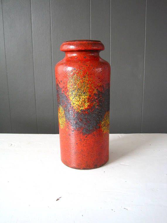 Vintage Scheurich Vase Pattern 517-30 Rough Dark Red Glaze